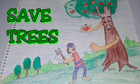 drawing tutorial save trees dont cut trees easy drawing for kids poster creative ideas