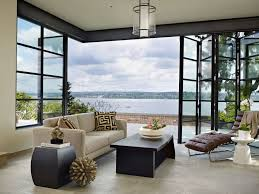 Exterior Design Lovely Modern Living Room With Sunroom Doors And