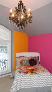 Pink And Orange Bedroom Girls Bedroom Painted Grey Orange Hot Pink Painted By The
