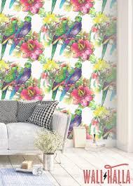 Papegaaien En Bloemen Behang Verwisselbare Wallpaper Etsy
