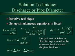 41 solution technique discharge or pipe diameter iterative technique set up simultaneous equations in excel