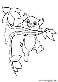 Small Picture The kitty playing on the tree kitten Coloring pages Printable