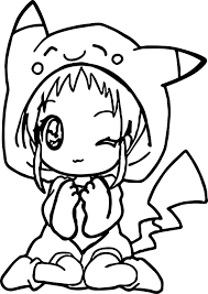 Small Picture Anime Girl Pikachu Dress Coloring Page Wecoloringpage