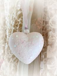 Sweet shabby chic valentines day decor ideas Chic Vintage Shabby Chic Heart Ornament Valentines Day Decor Housewarming Hostess Teacher Gift Idea pastel Glittery Christmas Tree Ornament Sweet Vintage Designs Catch My Party Shabby Chic Heart Ornament Valentines Day Decor Housewarming