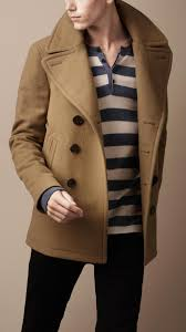 tan men s pea coat
