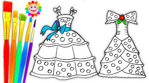 Coloring Pages Dresses for Girls | Drawing Pages to Learn Colors ...