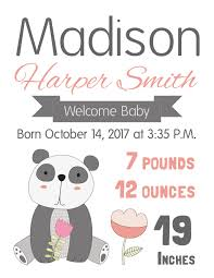 excited to share the latest addition to my etsy shop birth stats print birth announcement wall art panda nursery wall art personalized new baby gift  on personalized baby announcement wall art with birth stats sign panda nursery birth announcement sign birth