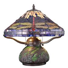 details stained glass elegance dragonfly bronze table lamp
