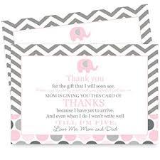 baby postcard amazon com pink elephant baby shower thank you postcard set of 15