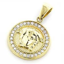 k gold vintage versace style diamond pendant medusa medallion ct