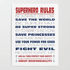 superhero rules poster by kitchen bath
