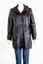 women s hooded leather parka coat