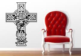 Small Picture Celtic Cross Wall Decal Design with a Rose Nice Irish Decoration