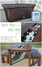 flower box bench plans turn a basic planter box into a drink cooler built in to