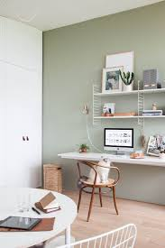 cozy home office desk furniture. light home office with green wall styled by holly marder more cozy desk furniture