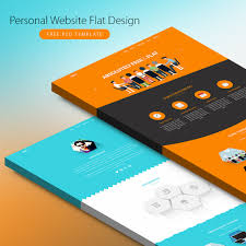 Free Profile Templates Personal Website Flat Design Free PSD Template Download Download PSD 8