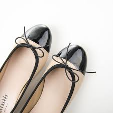 powder pink leather ballet flats and black patent toe