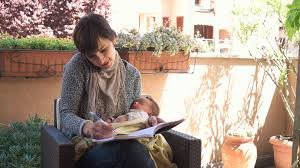 home office multitasking. Busy Business Woman And Newborn Baby, Happy Multitasking Mom Working With Infant, Mother Holding Home Office C