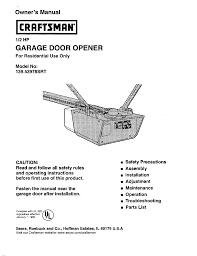 craftsman garage door opener troubleshootingTroubleshooting Craftsman 1 2 Hp Garage Door Opener Manual with