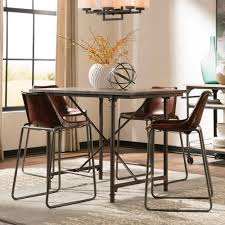 get ations 1perfectchoice antonelli 5 pcs counter ht dining set stone table top stools goat leather brown