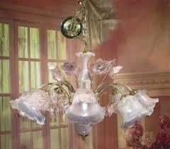 antique vintage chandelier downlight italian murano pink glass 8 light