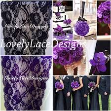 Purple Black Lace Table Runner 3ft 10ft X 7 Wide Wedding Decor