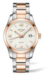 longines conquest classic men s 18ct rose gold and stainless steel longines conquest classic men s 18ct rose gold and stainless steel bracelet watch