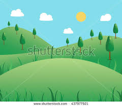 Beautiful Summer Outdoor Background Glade Trees Stock Vector