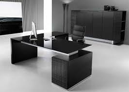 desk in office. Choose An All Black Design To Create A Sleek And Stylish Atmosphere In Your Office Glass Desk Tops With Matt Lacquered Structures F