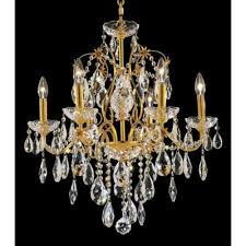 st francis 6 light oval drops chandelier finish gold crystal trim elegant cut