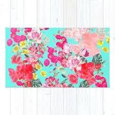 teal pink rug grey
