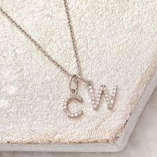 tiny diamond letter necklace