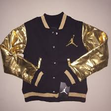 girls size s small 7 8 jordan 23 varsity jacket gold black nwt