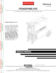 Lincoln Electric Power Mig 255 Svm144 B Users Manual