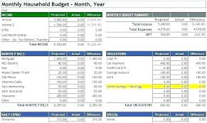 Monthly Home Budget Template Monthly Expense Spreadsheet Template Excel Household Budget