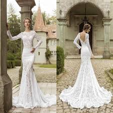 fashion lace sweep train mermaid wedding dresses fitted bodice
