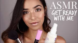 asmr get ready with me glitter freckles makeup cream lids tapping water sounds spray sounds asmr glow