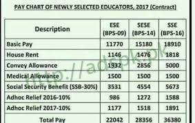Bps 2017 Chart Punjab Educators New Pay Scale Chart 2017 Newly Selected