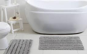 rug bath astonishing anchor bathroom rugs and navy striped dark target white chenille set gray blue