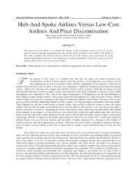 Research Papers on the Airline Industry Economics Help Price discrimination