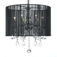crystal 6 light plug in chandelier with large black shade big earrings