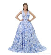 Dinner Dress Design Mf064 Chinese Blue And White Porcelain Pattern Dinner Dress Design 2019 V Neck Ball Gown Dinner Evening Dress Formal Dresses For Women Evening Dresses
