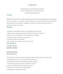 Adjunct Faculty Resume Gorgeous Examples Of Resume For Teachers Education Example Resume Examples Of