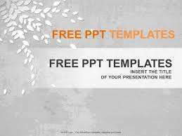 Pptx Themes Gray Leaf Powerpoint Templates Design Download Free