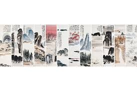 qi baishi twelve landscape screens 1926