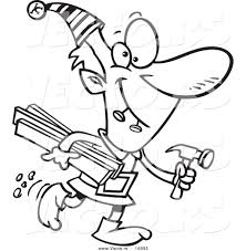 vector of a cartoon christmas elf carrying lumber and a hammer outlined coloring page drawing by ron leishman 16093 vector of a cartoon christmas elf carrying lumber and a hammer on hammer coloring page