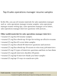 Operations Resume Examples Top 8 Sales Operations Manager Resume Samples