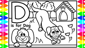 Abc coloring sheets for learning and simple coloring. Abc Alphabet Coloring Pages For Kids D Is For Dog Fun Abc Coloring Pages With Colored Markers Youtube