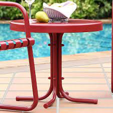 metal red outdoor patio side table