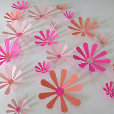 shades of pink daisies set 21 big 3d wall decals 2 4 paper fl